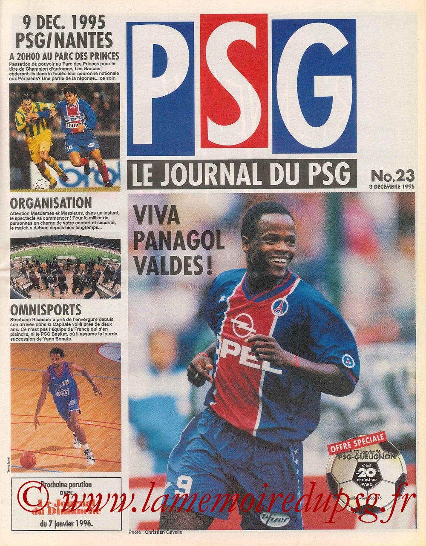 1995-12-09  PSG-Nantes (29ème D1, Le journal du PSG N°23)