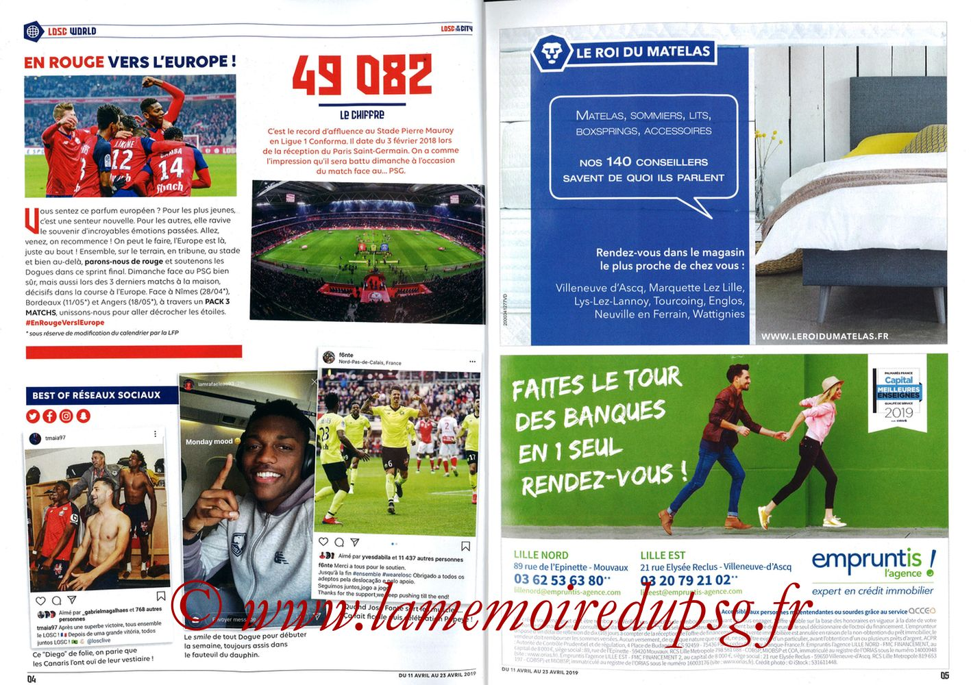 2019-04-14  Lille-PSG (32ème L1, LOSC In the City N° 28) - Pages 04 et 05