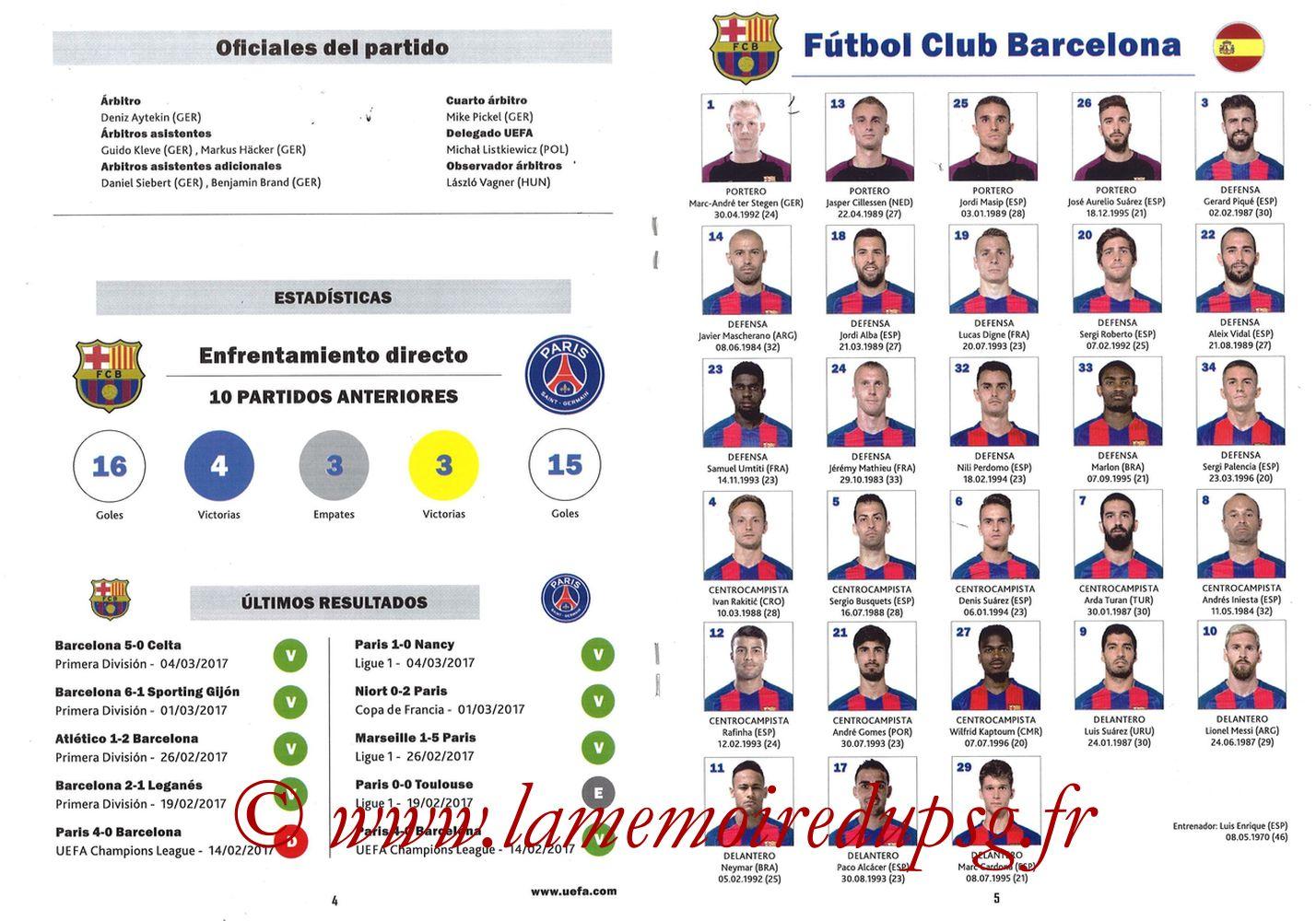 2017-03-08  Barcelone-PSG (8ème C1 retour, Programme pirate) - Pages 04 et 05