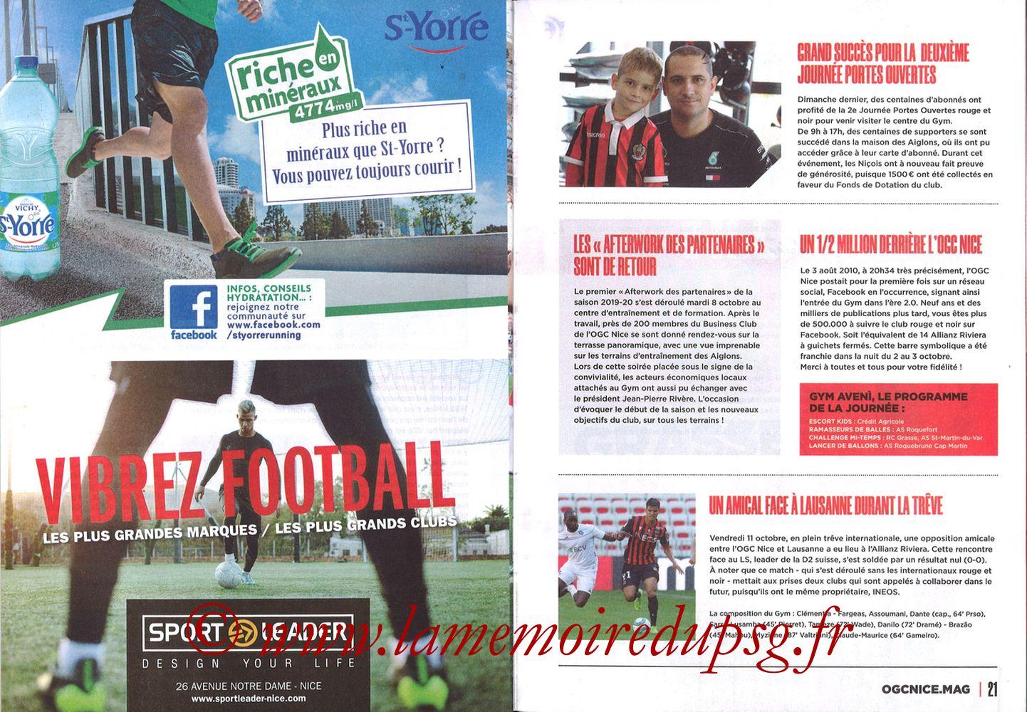 2019-10-18  Nice-PSG (10ème L1, OGCNice Mag N° 333) - Pages 20 et 21