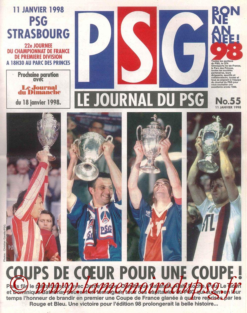 1998-01-11  PSG-Strasbourg (22ème D1, Le Journal du PSG N°55)