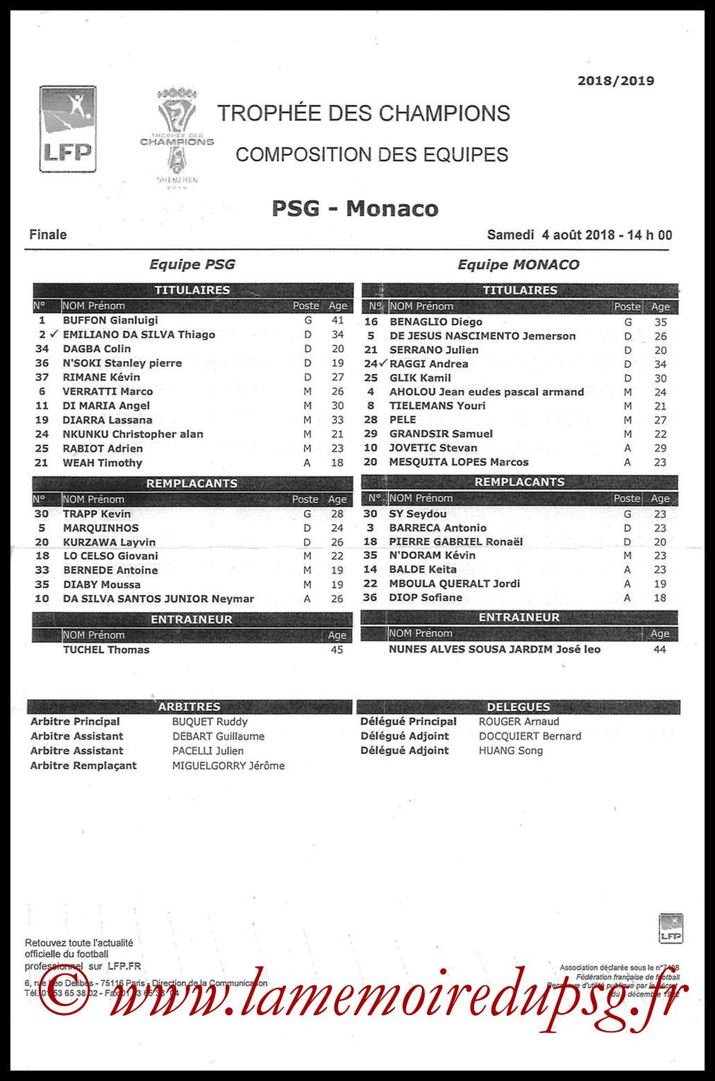 2018-08-04  PSG-Monaco (Trophée des Champions à Shenzhen, Feuille de match)