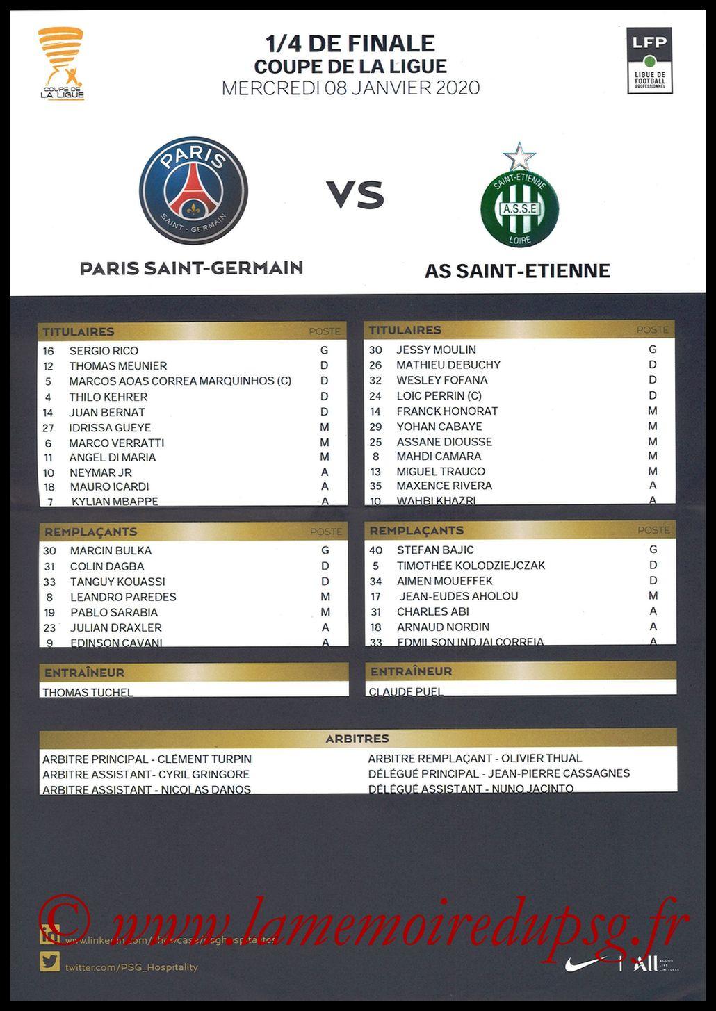 2020-01-08  PSG-Saint Etienne (Quart CL, Feuille de match)