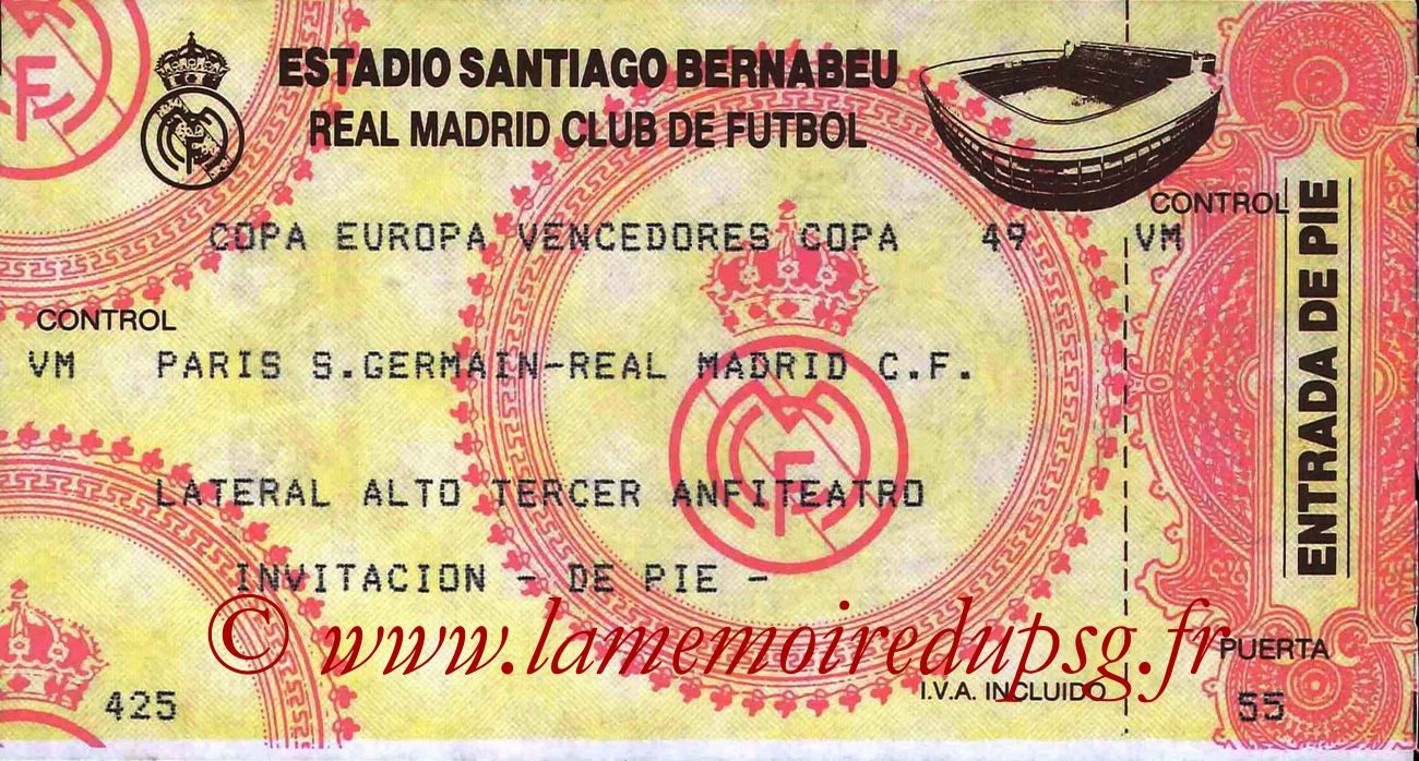 1994-03-03  Real Madrid-PSG (Quart Finale Aller C2)