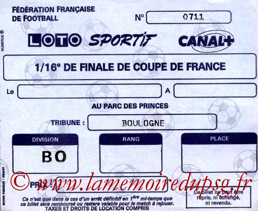 Ticket  PSG-Sochaux  1987-88