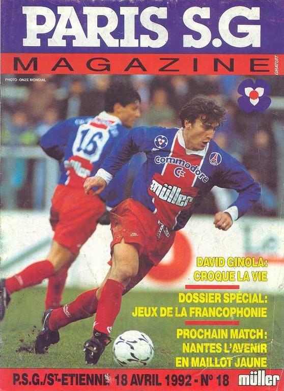 1992-04-18  PSG-Saint Etienne (36ème D1, Paris SG Magazine N°18)