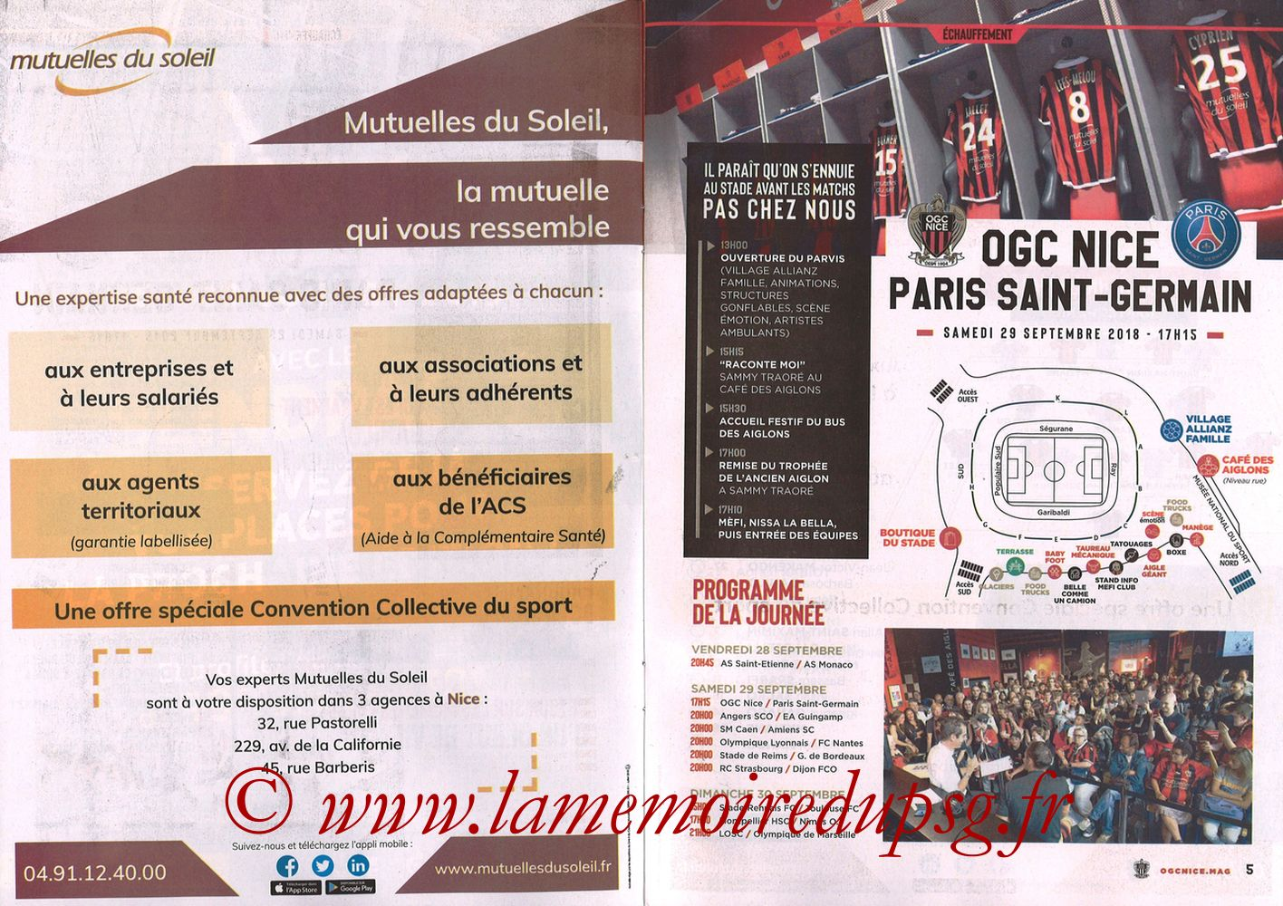 2018-09-29  Nice-PSG (8ème L1, Ogcnice.Mag N°313) - Pages 04 et 05
