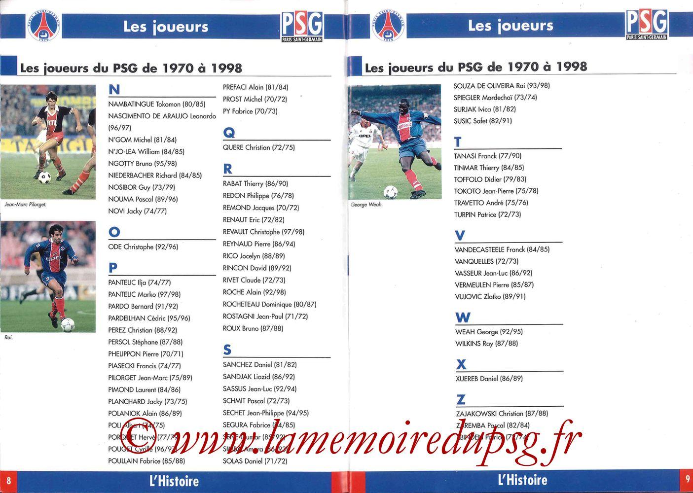 1998-99 - Guide de la Saison PSG - Pages 08 et 09