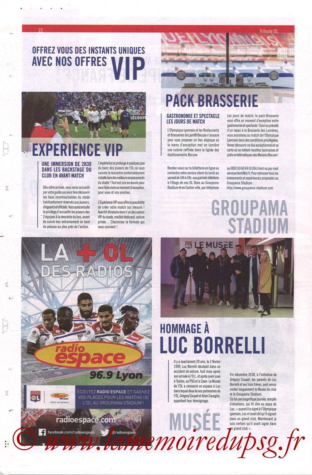 2019-02-03  Lyon-PSG (23ème L1, La Tribune OL N°270) - Page 22