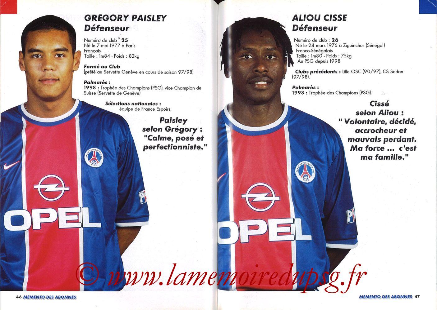 1999-00 - Guide de la Saison PSG - Pages 46 et 47