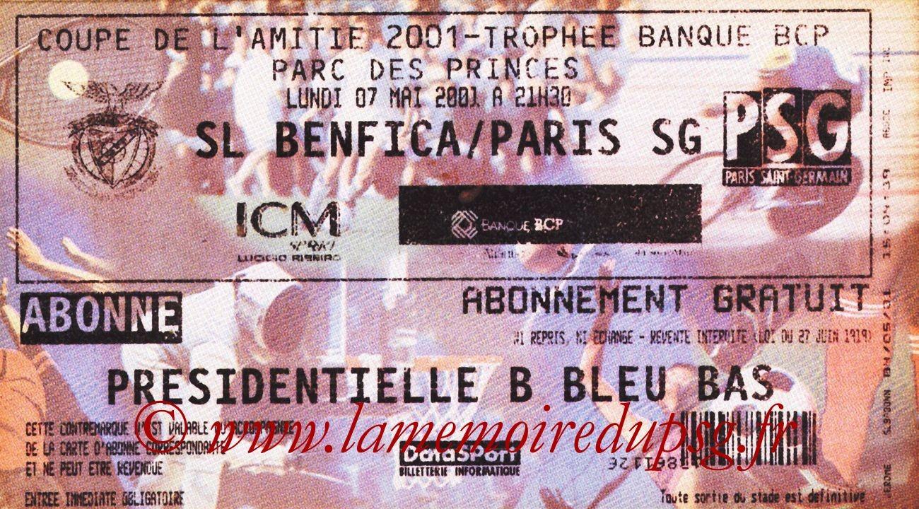 2001-05-07  PSG-Benfica (Coupe de l'amitié au Parc des Princes)