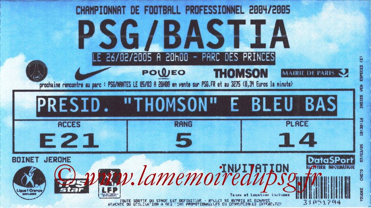 2005-02-26  PSG-Bastia (27ème L1, Huis Clos)