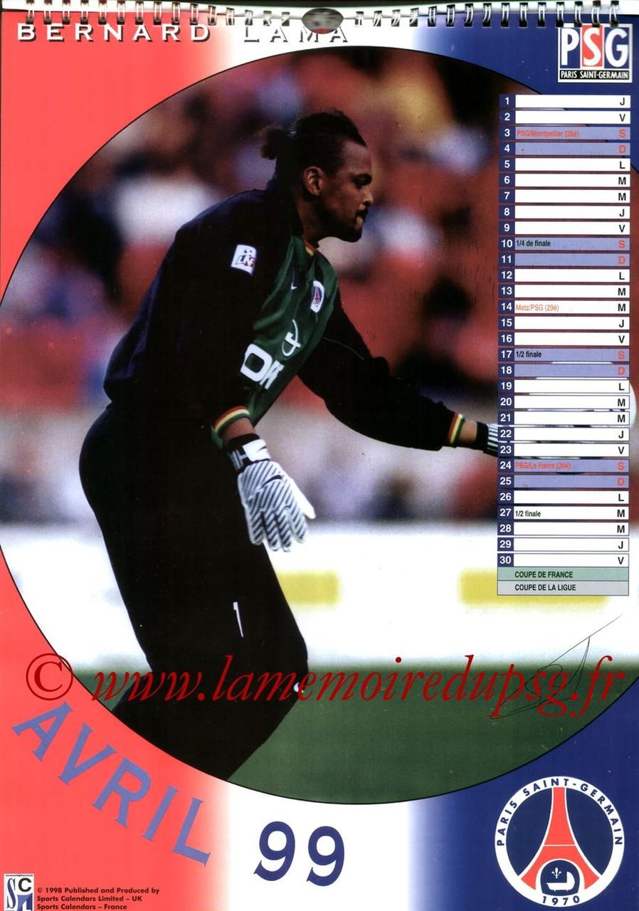 Calendrier PSG 1999 - Page 04 - Bernard LAMA