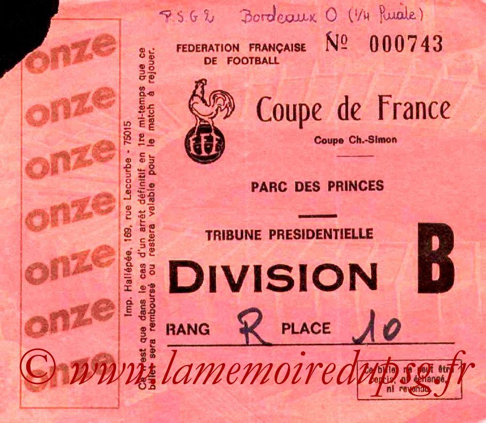 1982-04-16  PSG-Bordeaux (Quart Finale Aller CF, Sans Nom)