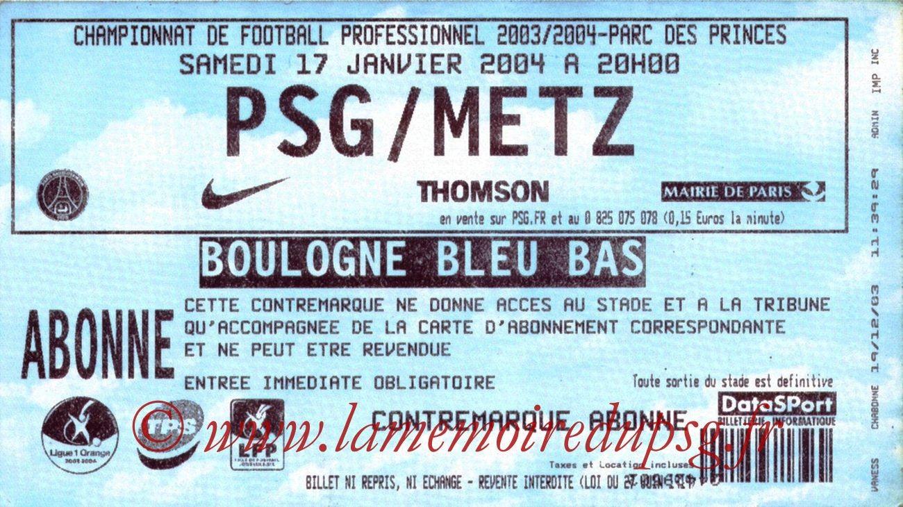 2004-01-17   PSG-Metz (21ème L1)
