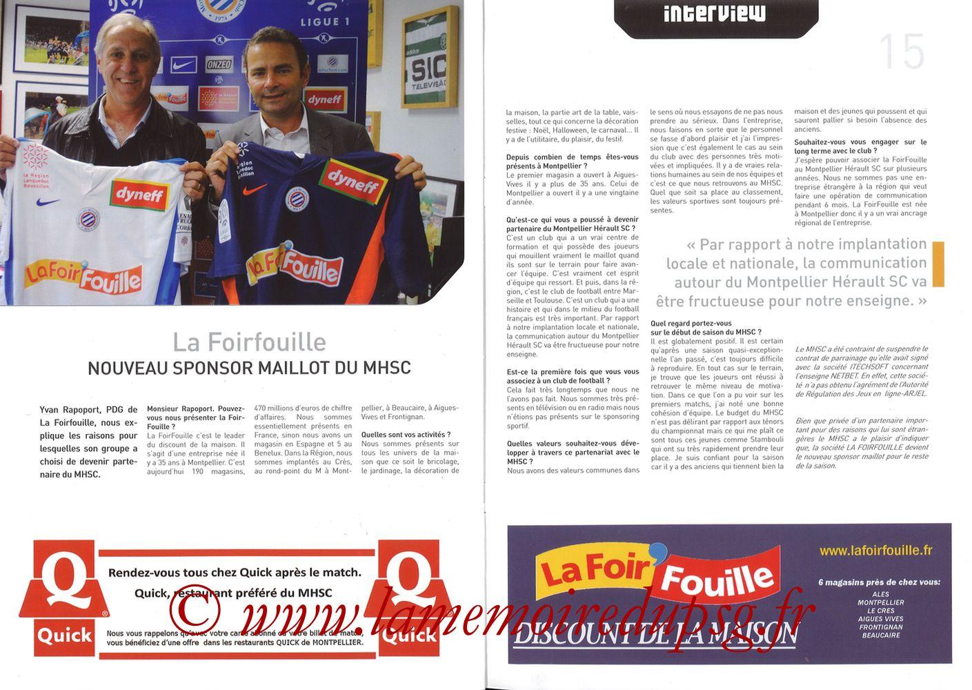 2010-10-31  Montpellier-PSG (11ème L1, L'Echo de la Mosson N°6) - Pages 14 et 15