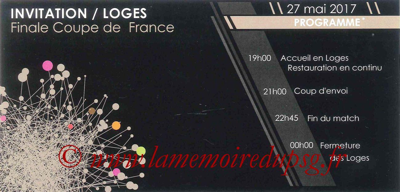 2017-05-27  Angers-PSG (Finale CF à Saint-Denis, Invitation Loges)