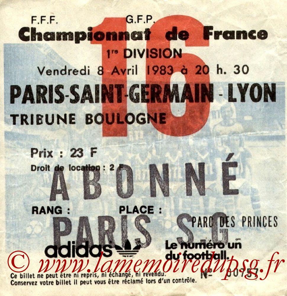 1983-04-08  PSG-Lyon (31ème D1, Ticket N°16)