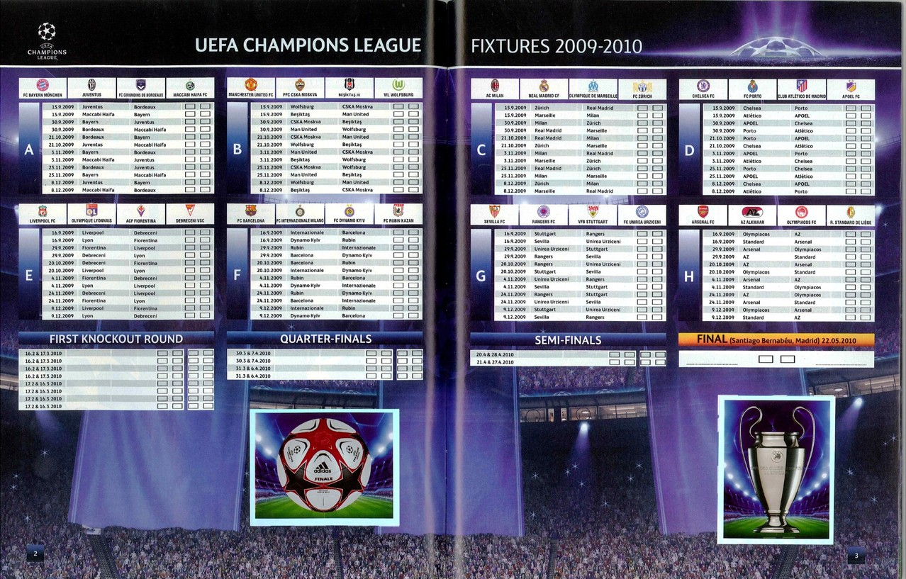 2009-10 - Panini Champions League - Pages 02 et 03 - Tableau des Poules