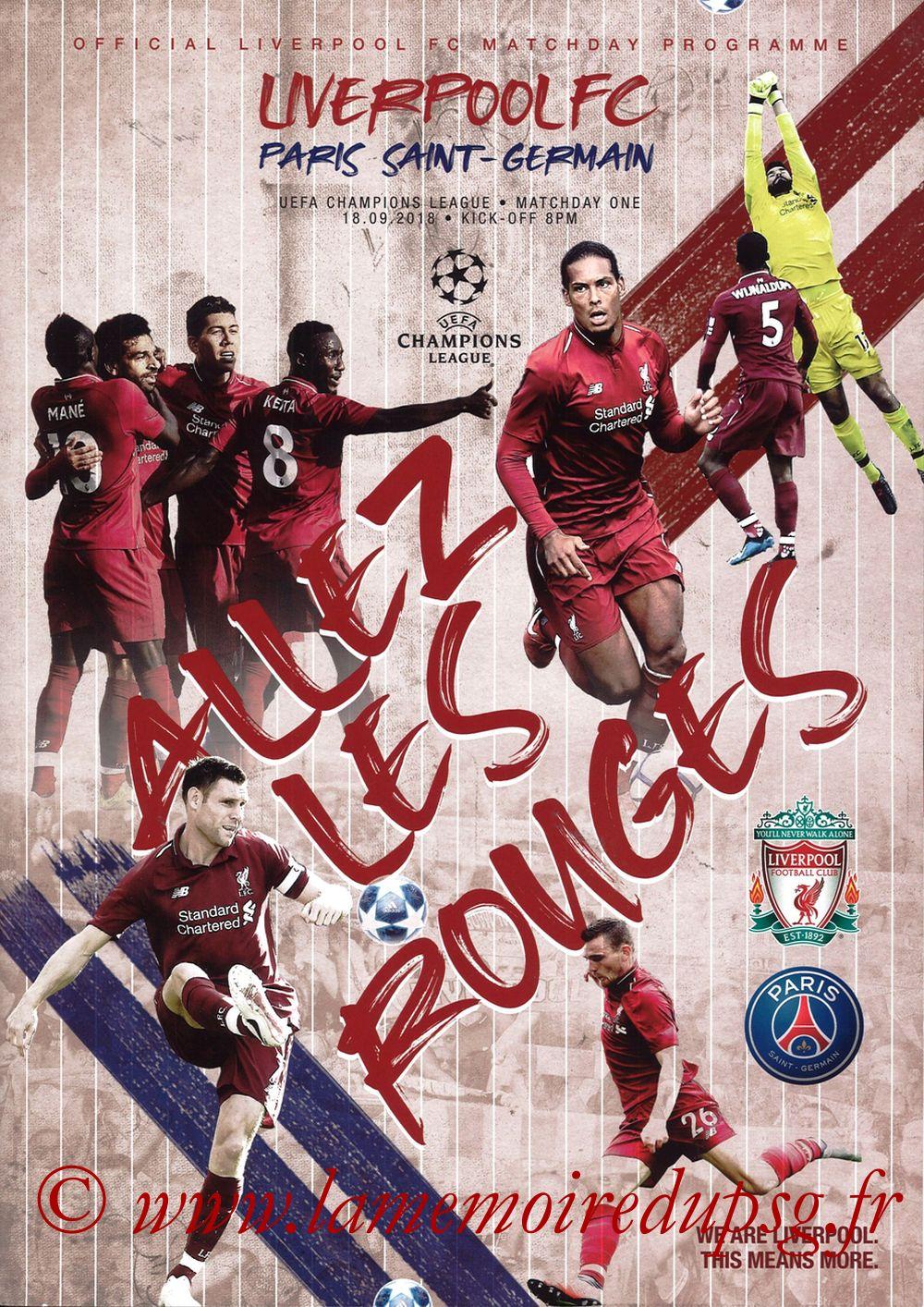 2018-09-18  Liverpool-PSG (1ère C1, Programme officiel)