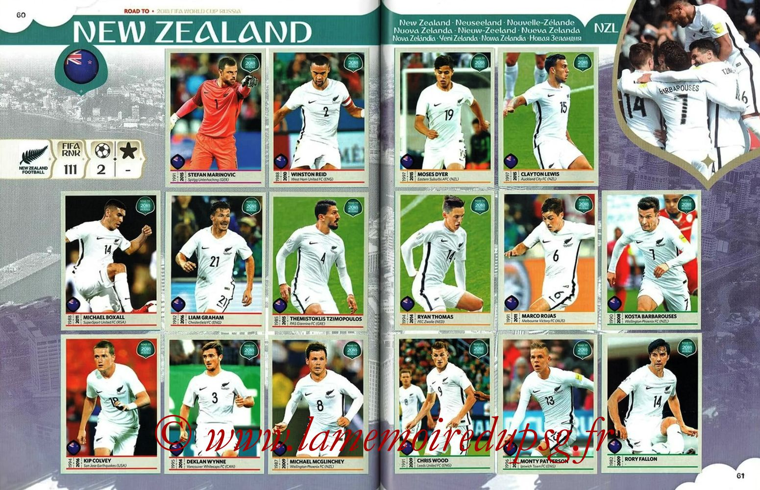2018 - Panini Road to FIFA World Cup Russia Stickers - Pages 60 et 61 - Nouvelle- Zélande