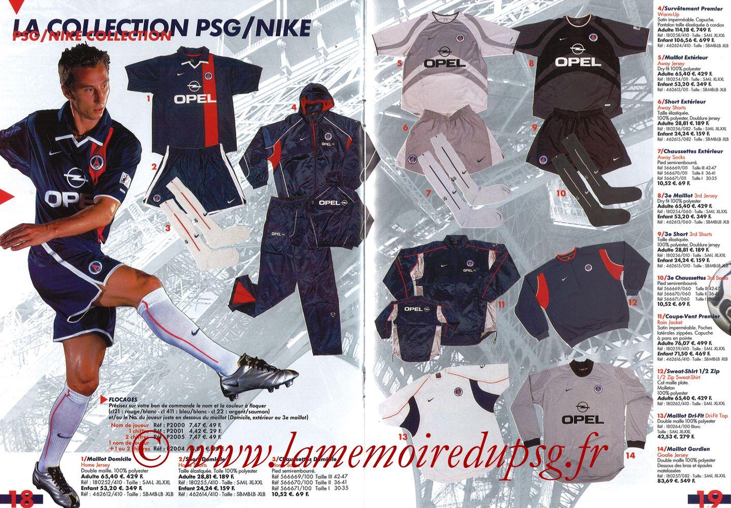 Catalogue PSG - 2001-02 - Pages 18 et 19
