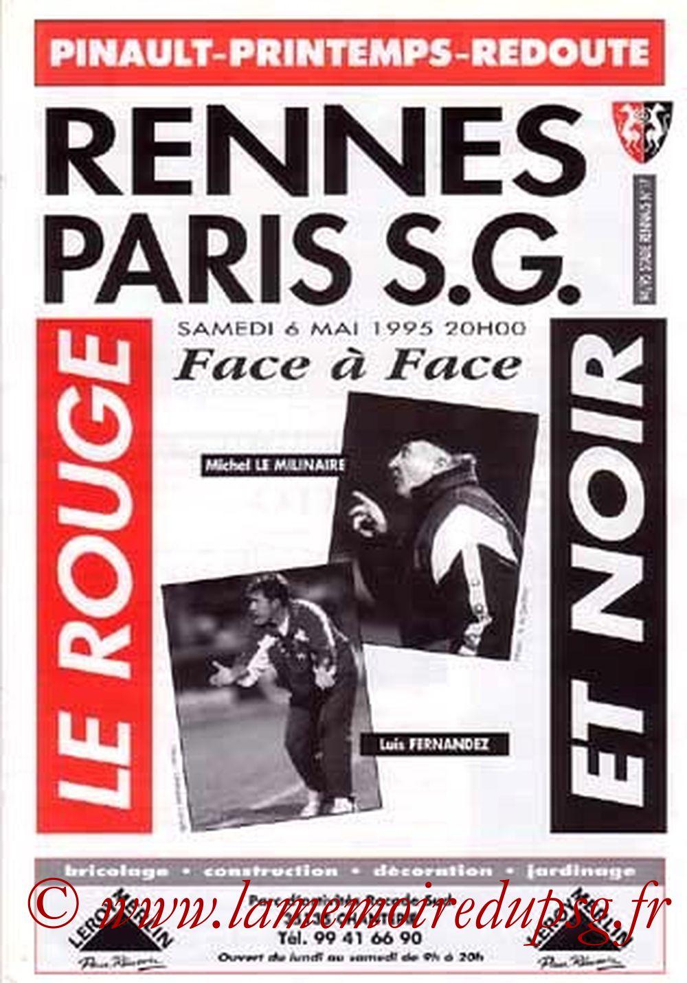 1995-05-06  Rennes-PSG (35ème D1, Le Rouge et Noir N°..que je n'ai pas)