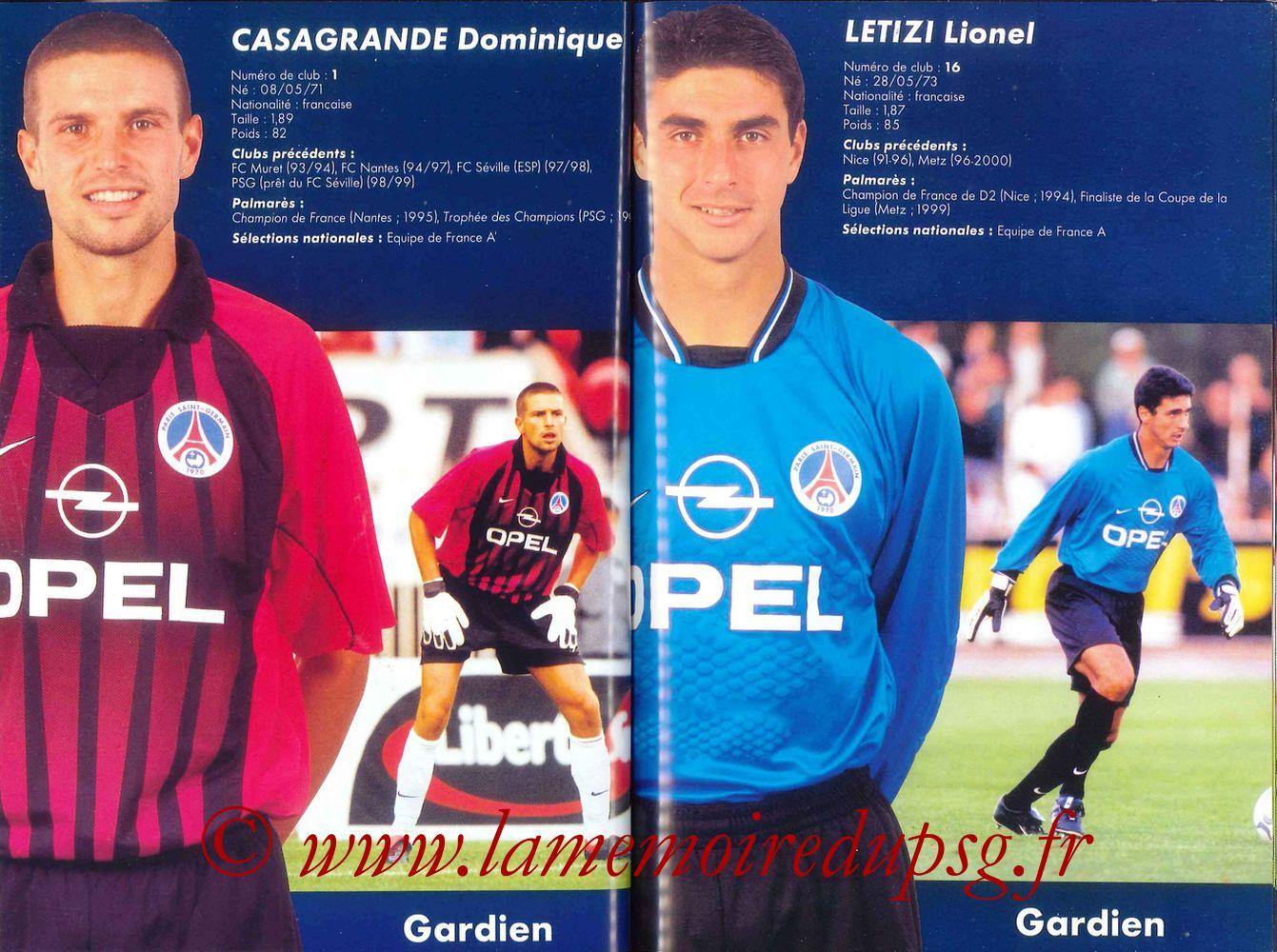 2000-01 - Guide de la Saison PSG - Pages 34 et 35