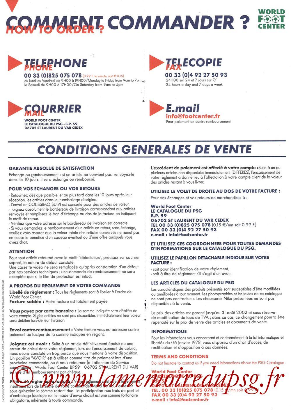 Catalogue PSG - 2001-02 - Bon de Commande Verso