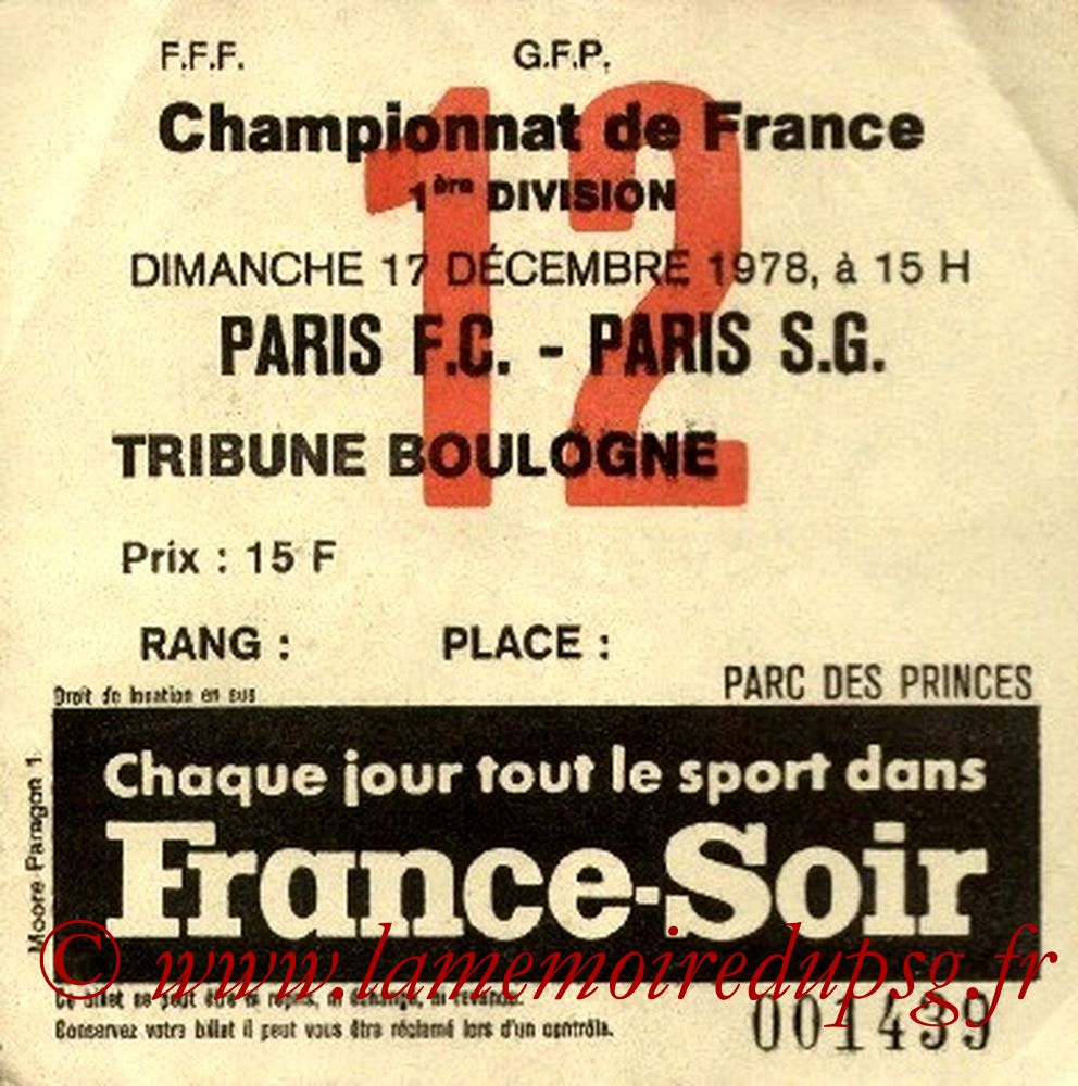 1978-12-17  Paris FC-PSG (24ème D1, Ticket N°12)