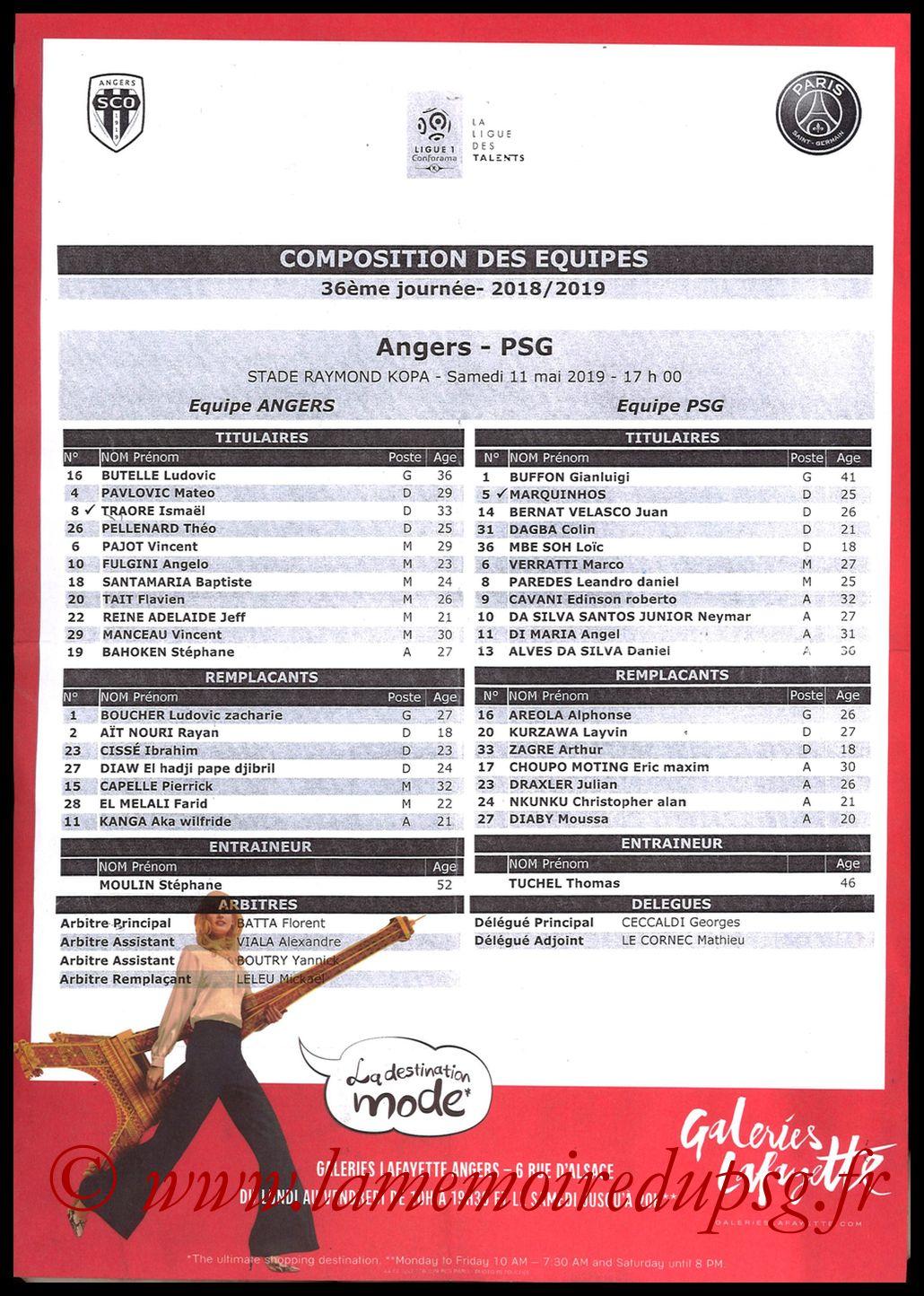 2019-05-11  Angers-PSG (36ème L1, Feuille de match)