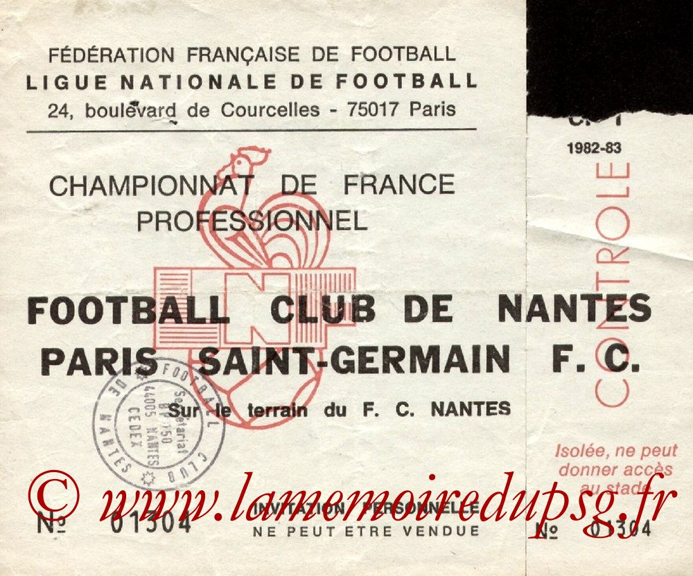 1983-01-29  Nantes-PSG (23ème D1, Invitation)