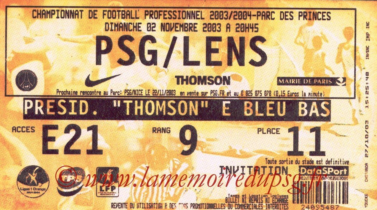 2003-11-02   PSG-Lens (12ème L1, bis)