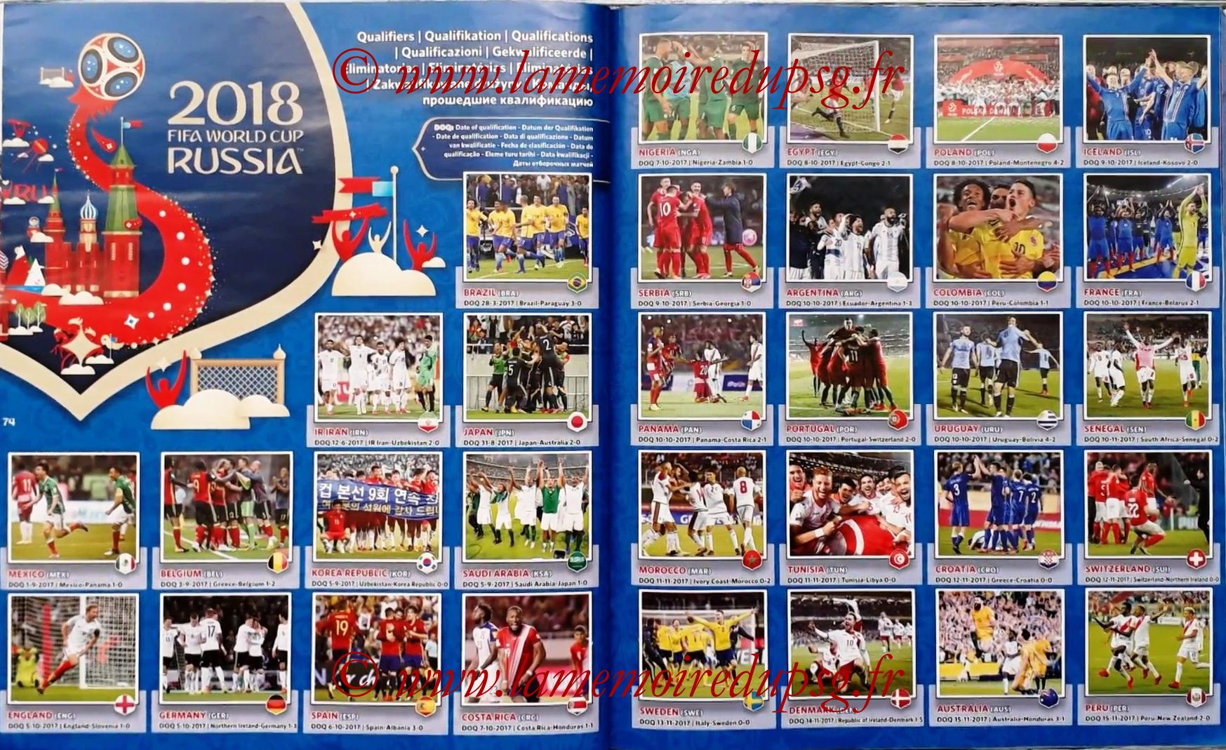 2018 - Panini FIFA World Cup Russia Stickers - Pages 74 et 75 - Qualifications