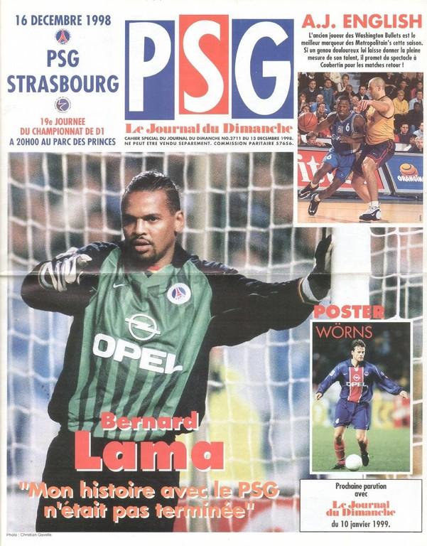 1998-12-16  PSG-Strasbourg (19ème D1, Le Journal du PSG N°67)