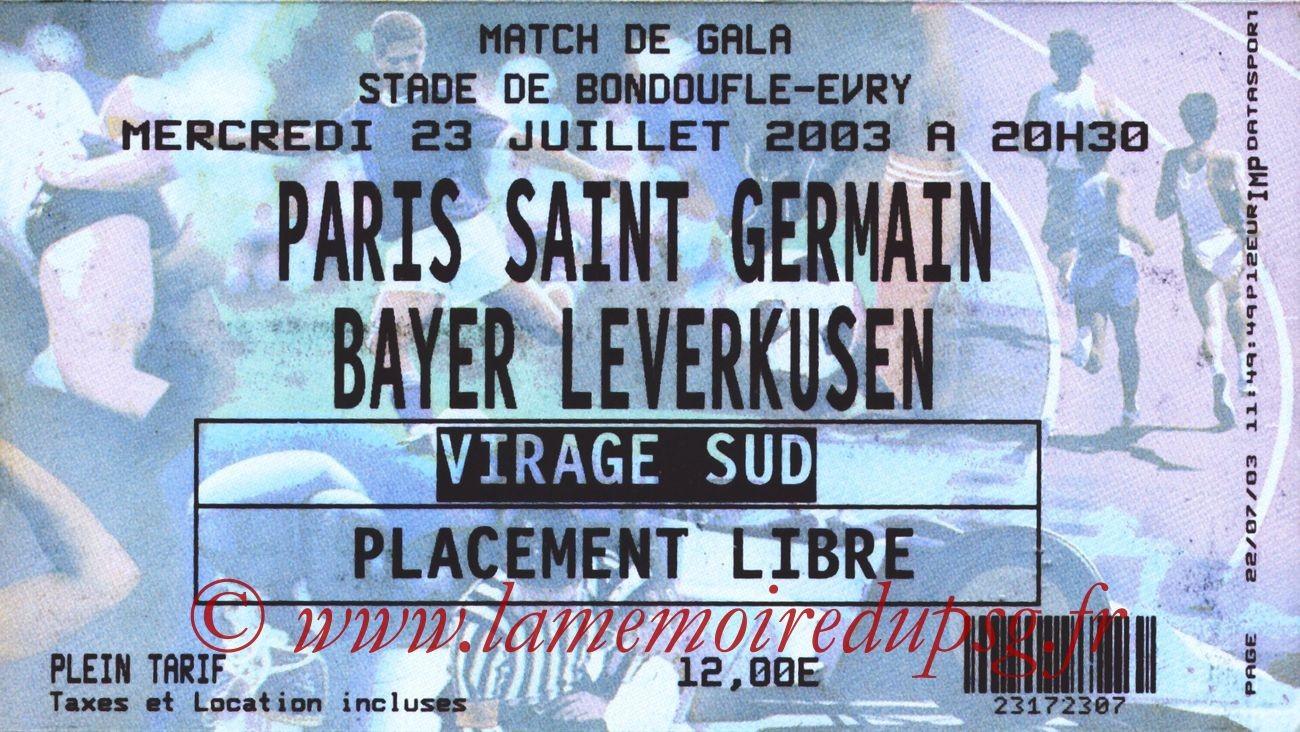 2003-07-23   PSG-Bayer Leverkusen (Amical à Evry-Bondoufle)