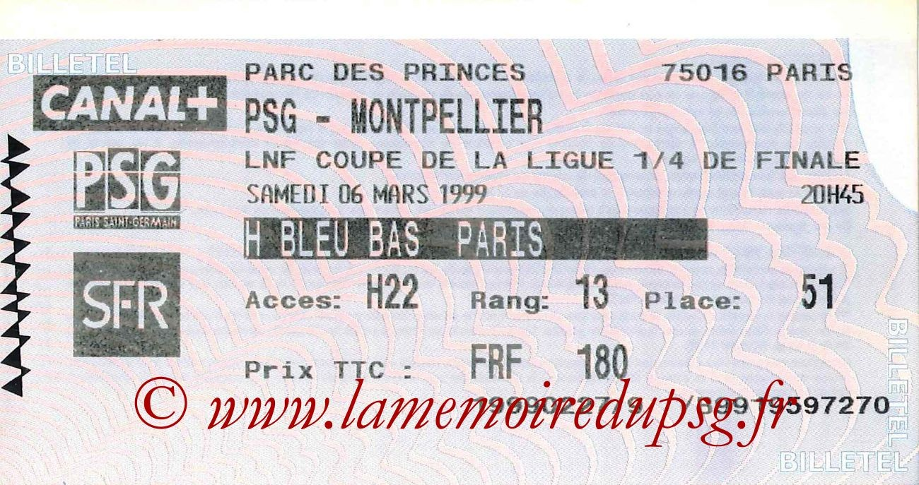 1999-03-07  PSG-Montpellier (Quart Finale CL, billetel)