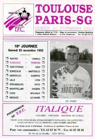 1993-11-20  Toulouse-PSG (18ème D1, Programme officiel)