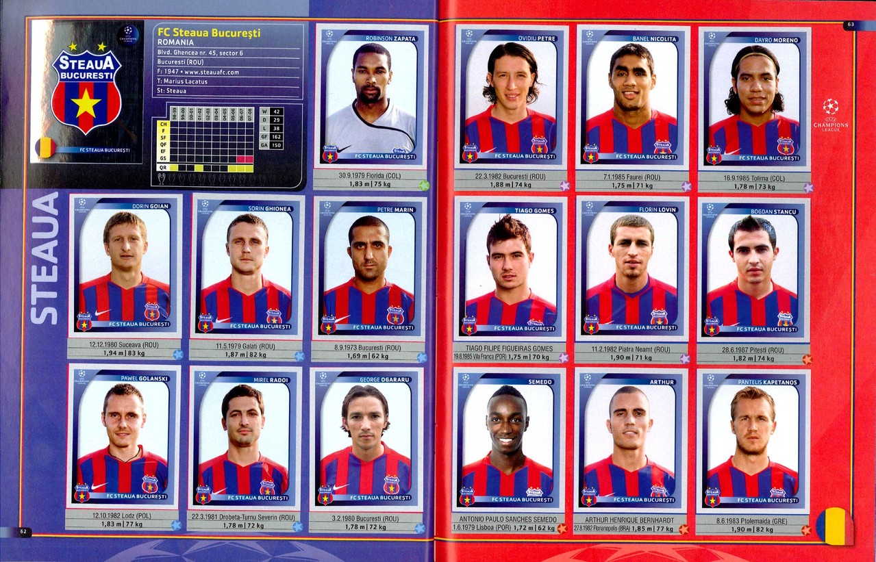 2008-09 - Panini Champions League - Pages 62 et 63 - FC Steaua Bucarest