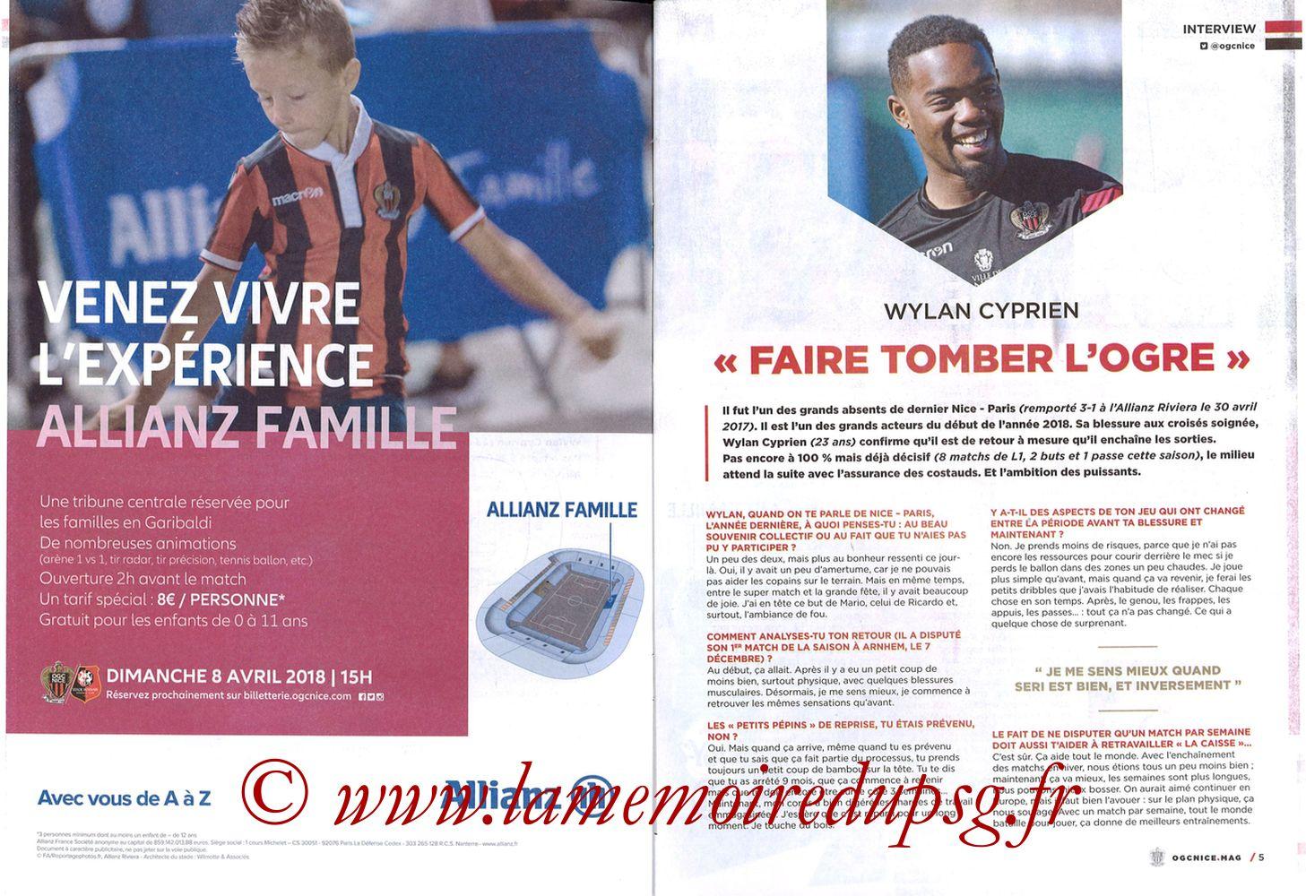 2018-03-18  Nice-PSG (30ème L1, OGC Nice Mag N°306) - Pages 04 et 05