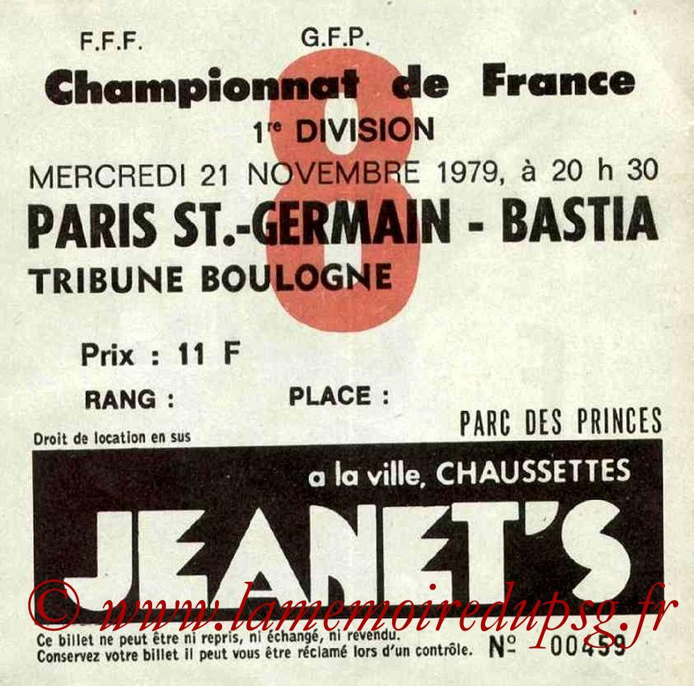 1979-11-21  PSG-Bastia (17ème D1, Ticket N°8)