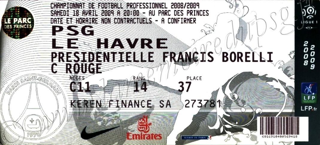 2009-04-19  PSG-Le Havre (32ème L1, bis)