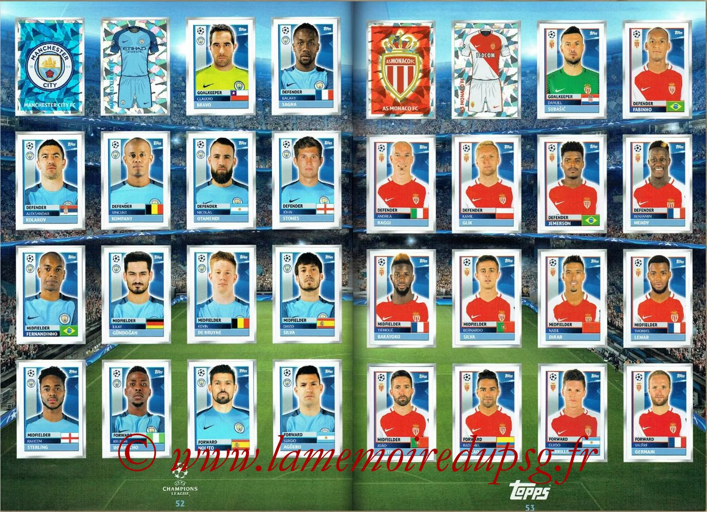 2016-17 - Topps UEFA Champions League Stickers - Pages 52 et 53 - Manchester City FC + AS Monaco