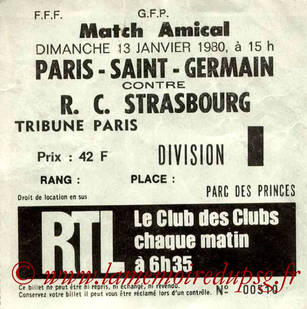1980-01-13  PSG-Strasbourg (Amical au Parc des Princes)