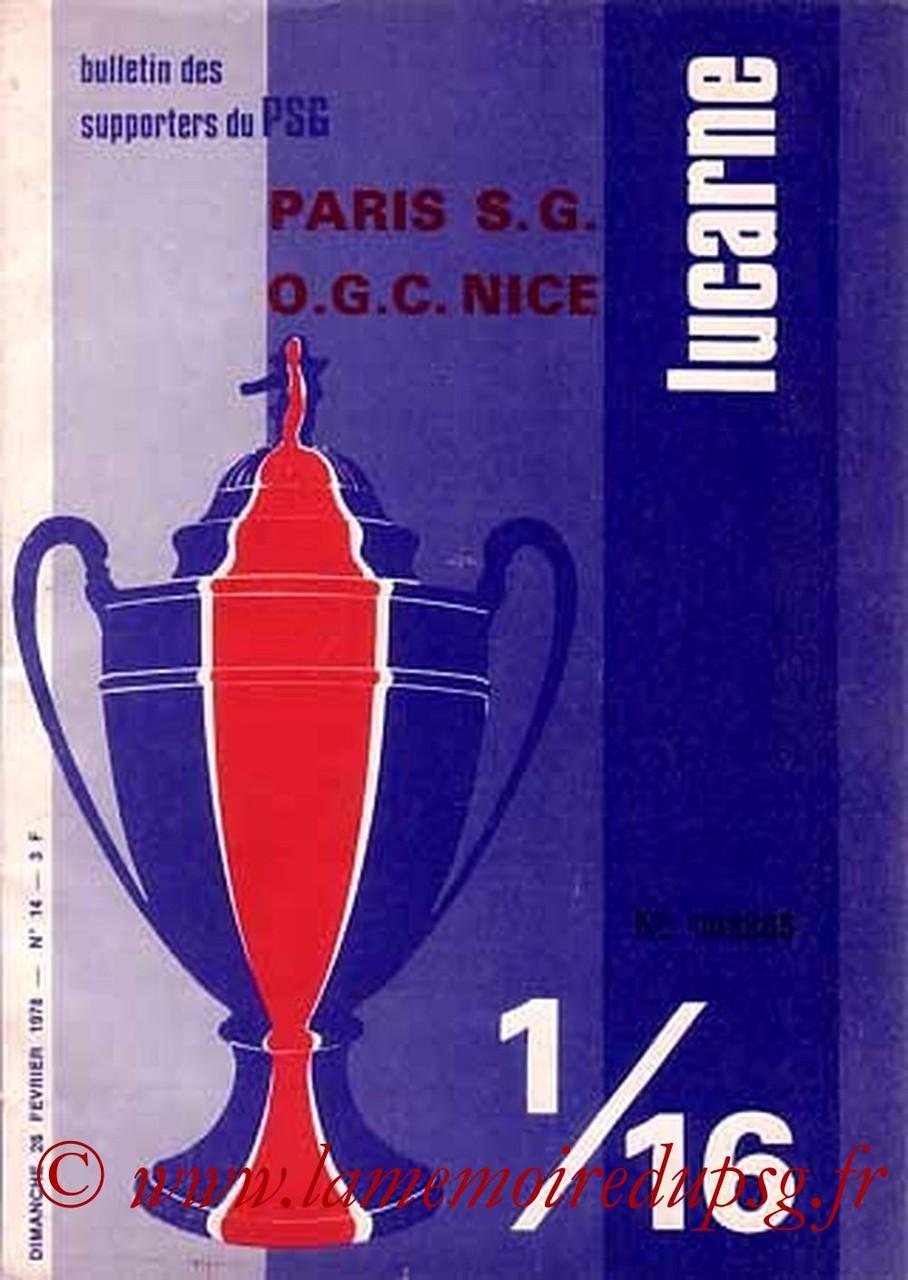1978-02-28  PSG-Nice (16ème Finale Retour CF, Lucarne N°14)