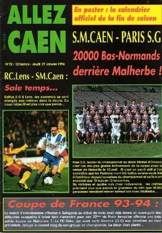 1994-01-29  Caen-PSG (24ème D1, Allez Caen N°72)