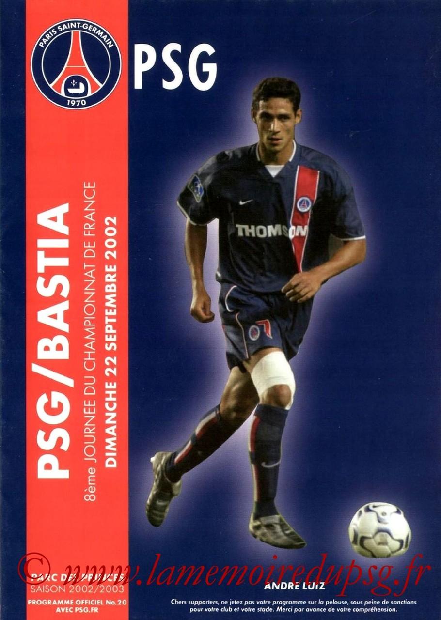 2002-09-22  PSG-Bastia (8ème D1, Programme officiel N°20)
