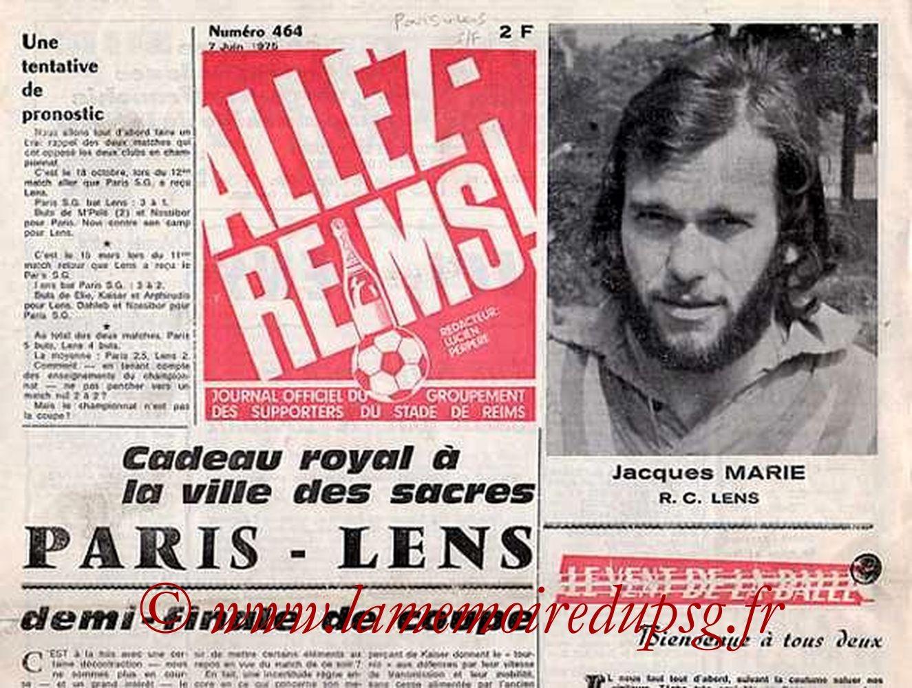 1975-06-07  PSG-Lens  (Demi Finale CF à Reims, Allez Reims N°464)