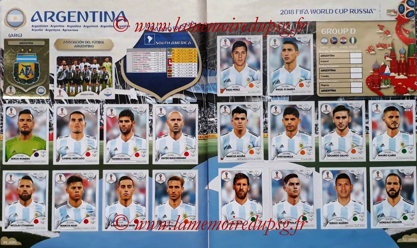 2018 - Panini FIFA World Cup Russia Stickers - Pages 34 et 35 - Argentine