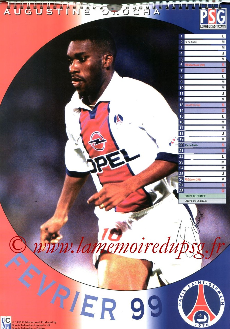 Calendrier PSG 1999 - Page 02 - Augustine OKOCHA